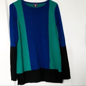 Vince Camuto Colorblock Sweater Blue Green Black